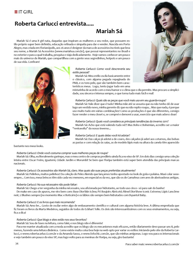 Artigo Revista Arenna - Mariah Sa