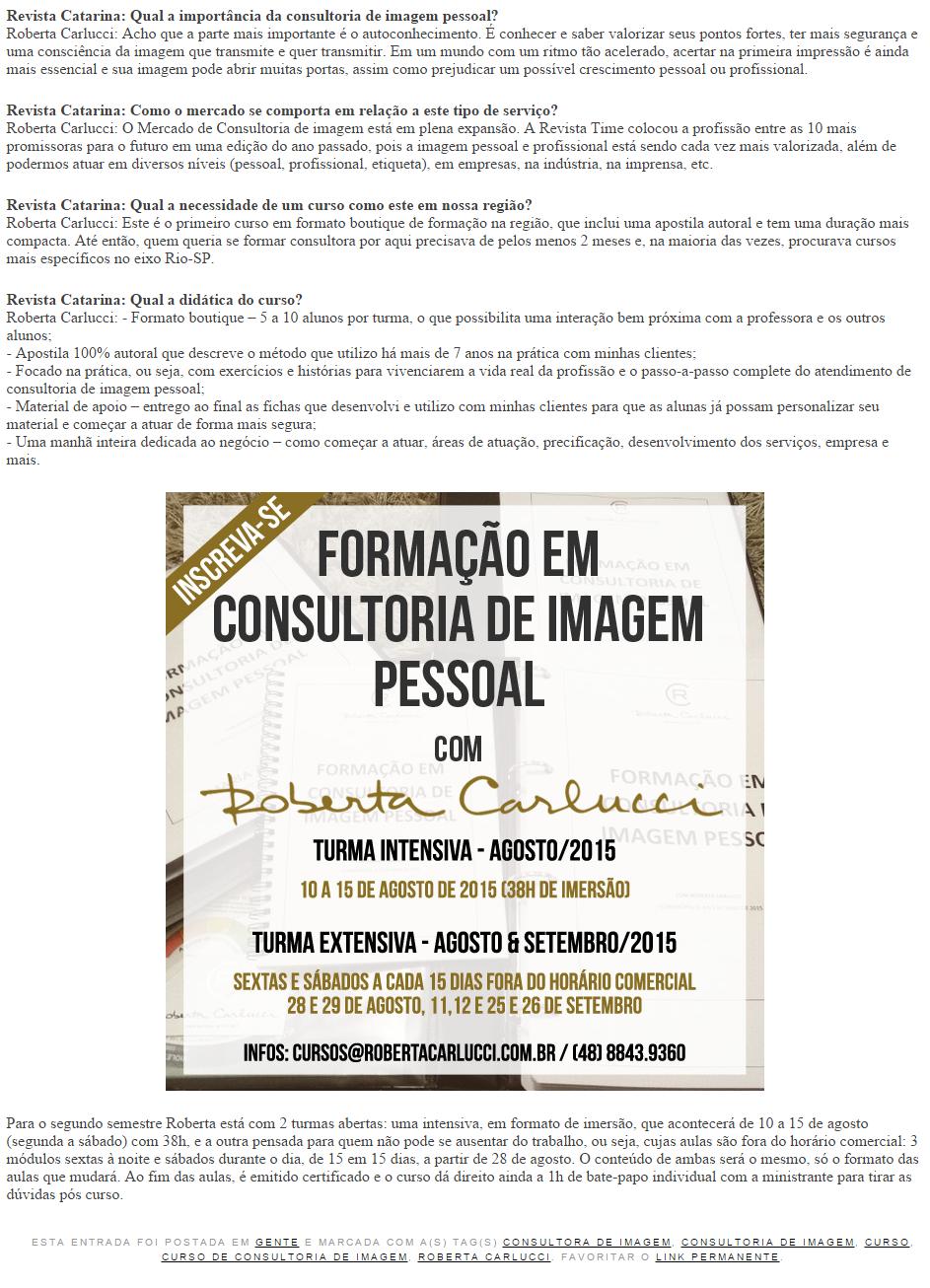Curso de Consultoria de Imagem com Roberta Carlucci   Revista Catarina 2