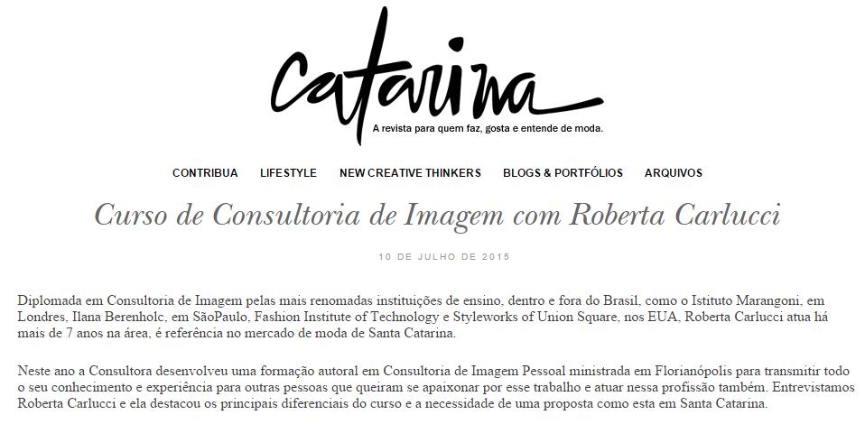 Curso de Consultoria de Imagem com Roberta Carlucci   Revista Catarina